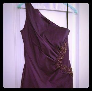 Women's one sleeve purple dress